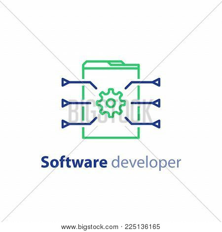 Coding services, software development, internet technology, innovation concept, web site design, administration, cogwheel vector line icon