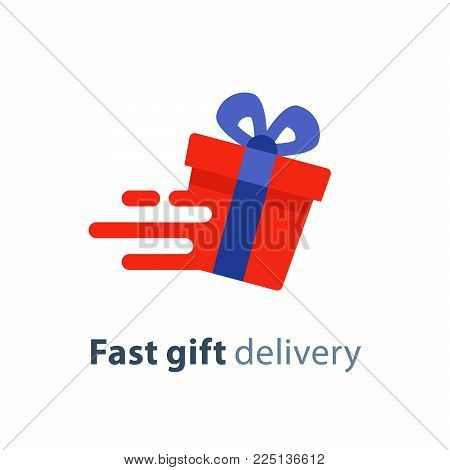 Fast gift delivery service, blue red gift box in motion flat icon, present quick solution, vector illustration