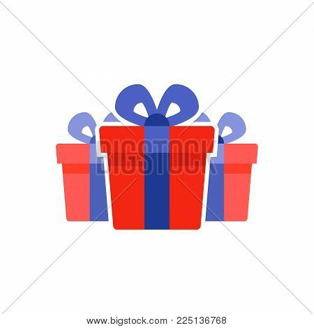 Special prize, reward gifts, surprising present box, red gifts with blue ribbon, bonus concept, loyalty program, group of three objects, vector flat icon