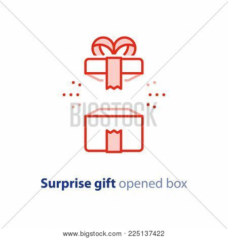 Surprise gift icon, opened red box with ribbon, best present, super prize concept, special event celebration, receiving birthday gift, vector flat design illustration