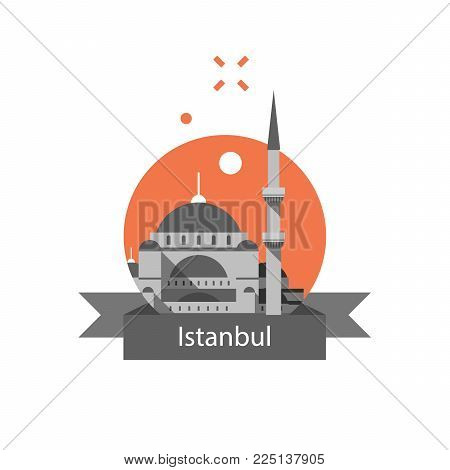 Turkey travel destination, Istanbul symbol, Sultan Ahmed Mosque or Blue Mosque, famous landmark, tourism concept, culture and architecture, vector icon, flat illustration