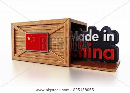Made in China text inside cargo box with flag of China. 3D illustration.