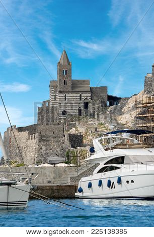 The ancient church of San Pietro (St. Peter consecrated in 1198) in Portovenere or Porto Venere (UNESCO world heritage site) - La Spezia, Liguria, Italy
