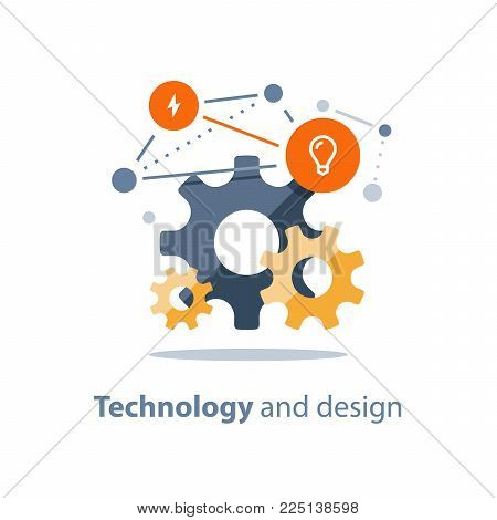 Innovative technology, design solutions, team work concept, new business, start up development, system integration, engineering and maintenance, vector flat illustration