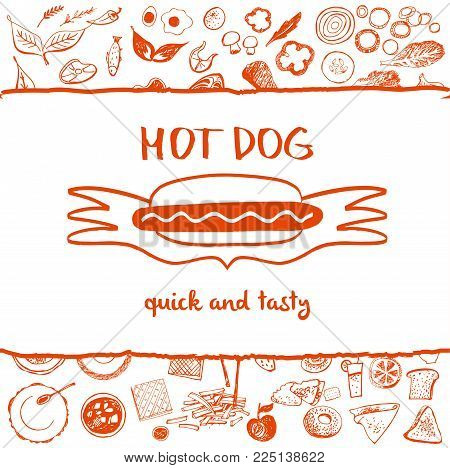 Hot dog. Quick and tasty. Eco natural product. Template logo, banner, poster for health fast food.