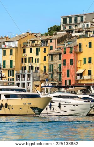 Luxurious Yachts In The Port Of Porto Venere Or Portovenere (unesco World Heritage Site), Seen From