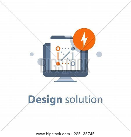 Design solution, web technology and development, encryption concept, data protection and security, antivirus system, online access, hacker attack, vector icon, flat illustration