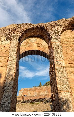 Closeup of the ancient Greek Roman theater at sunset in Taormina town, Messina, Sicily island, Italy (II century AD)