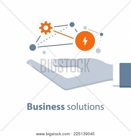 Business solutions, innovative technology, start up concept, marketing strategy, system development, businessman holding in hand, vector flat design illustration