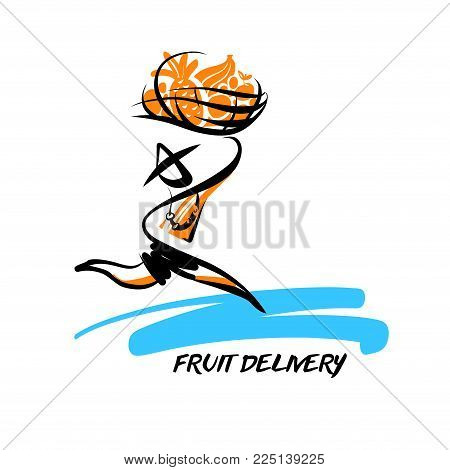 Silhouette running fast man courier holding basket of fruit. Logo template concept. Logotype for person fast delivery. Sketch vector illustration. Deliver package for logistic service company.