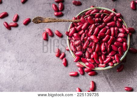 Red Beans. Red Beans And  Spoonl On Table