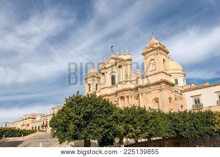 Basilica And Cathedral Of St. Nicholas Of Myra (san Nicolo) In Sicilian Baroque Style. In The Small