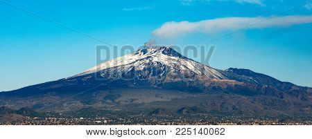 The Mount Etna Volcano With Smoke And Silvestri Craters In The Catania City, Sicily Island, Italy (s