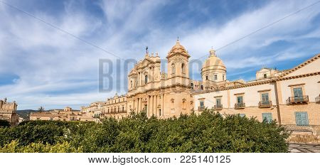 The Downtown Of Noto With The Basilica And Cathedral Of St. Nicholas Of Myra (san Nicolo) In Sicilia