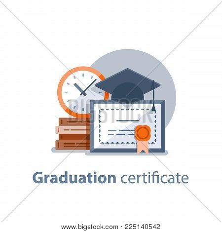Education concept, graduation hat, diploma and clock, degree certificate, accomplishment, vector illustration