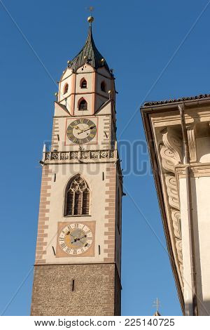 Detail Of The Bell Tower Of The Cathedral Of St. Nicholas (1302-1465) In Merano, Bolzano, Trentino A