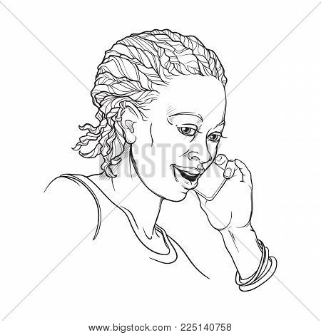 Afro-American young woman with cornrow braids speaking on the phone and smiling. Black and white linear sketch isolated on white background. EPS10 vector illustration