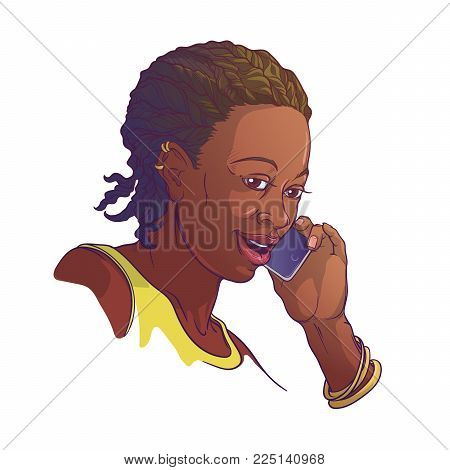 Afro-American young woman with cornrow braids speaking on the phone and smiling. Colored linear sketch isolated on white background. EPS10 vector illustration