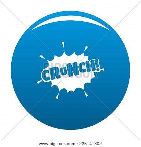 Comic boom crunch icon vector blue circle isolated on white background