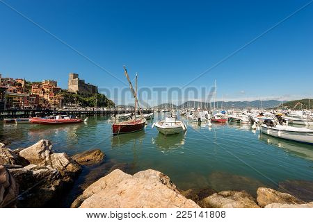The port of Lerici, typical seaside town in Liguria in the Golfo dei Poeti (Gulf of poets or Gulf of La Spezia) in Italy