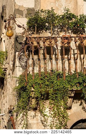 Close-up of a typical balcony in wrought iron in the Taormina town, Sicily island, Messina, Italy, Europe