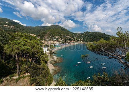 Panoramic view of Bonassola with the beach, ancient village in Ligurian coast, La Spezia, Liguria, Italy, Europe