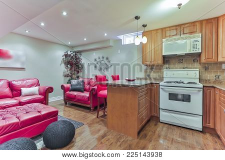 Basement Interior design in a new house with kitchen