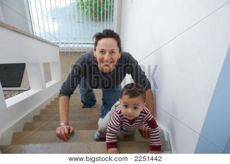 Julie  Sam On Stairs