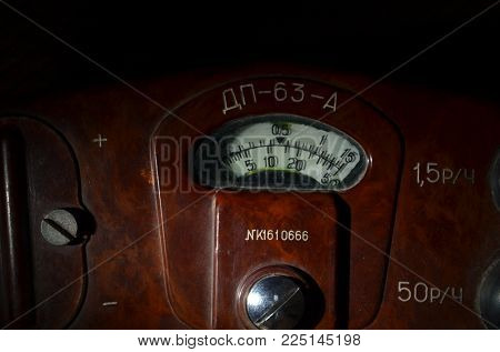 ILLUSTRATIVE EDITORIAL. Soviet vintage military geiger counter DP-63-A. 1960-70s. Cold War time. Kiev,Ukraine.February 1, 2018