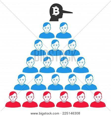 Bitcoin Ponzi Pyramid Manager vector flat icon. Human face has enjoy expression. Faced bitcoin ponzi pyramid manager.