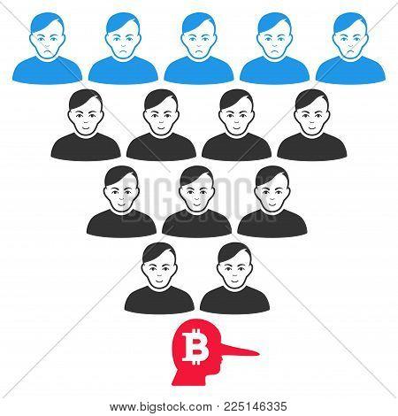 Bitcoin Ponzi Pyramid Manager vector flat pictogram. Human face has enjoy feeling. Faced bitcoin ponzi pyramid manager.