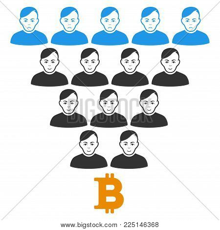 Bitcoin Ponzi Pyramid vector flat pictograph. Person face has glad mood. Faced bitcoin ponzi pyramid.
