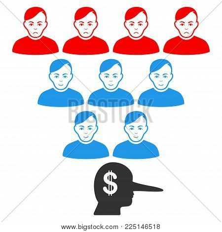 Ponzi Pyramid Manager vector flat icon. Person face has happy feeling. Faced ponzi pyramid manager.