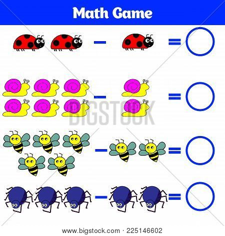 Mathematics educational game for children. Learning subtraction worksheet for kids, counting activity. Vector illustration.