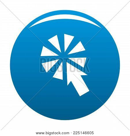 Cursor interactive click icon vector blue circle isolated on white background