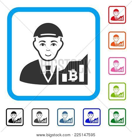Gladness Bitcoin Trader vector icon. Human face has enjoy emotions. Black, grey, green, blue, red, pink color versions of bitcoin trader symbol in a rounded square. A dude with a cap.