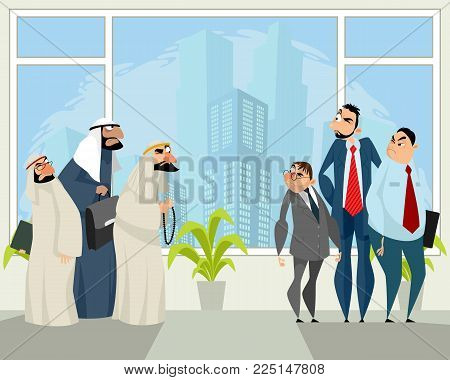 Vector illustration of mutual distrust business partners