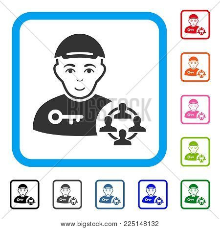 Enjoy Social Engineer vector pictograph. Human face has enjoy sentiment. Black, gray, green, blue, red, orange color additional versions of social engineer symbol inside a rounded squared frame.