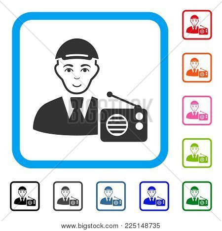 Smiling Radio Listener vector pictogram. Human face has glad emotions. Black, gray, green, blue, red, orange color additional versions of radio listener symbol inside a rounded squared frame.