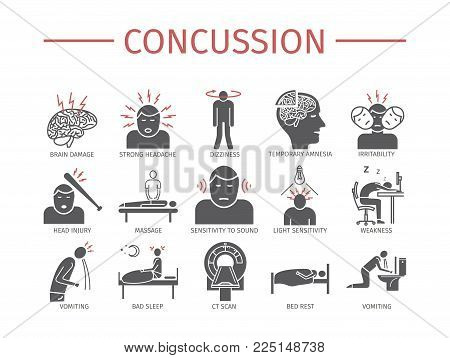 Concussion. Symptoms, Treatment. Flat icons set. Vector signs for web graphics
