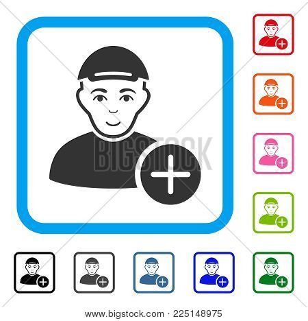 Glad Add User vector pictograph. Person face has joy feeling. Black, gray, green, blue, red, pink color versions of add user symbol inside a rounded frame. A person with a cap.