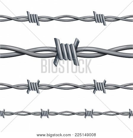 Realistic 3d Detailed Barbed Wire Line Set Closeup View Decor Element for Design. Vector illustration of Barbwire Borderline