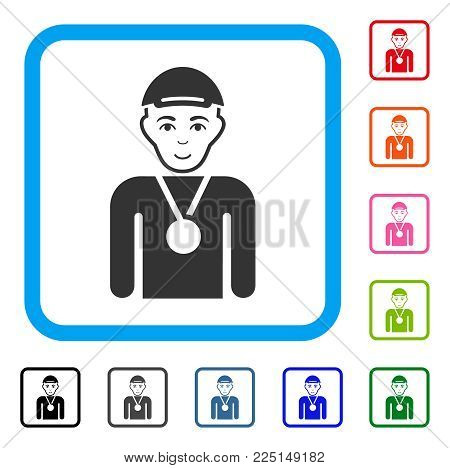 Cheerful Champion vector pictogram. Person face has enjoy emotions. Black, gray, green, blue, red, pink color variants of champion symbol in a rounded square. A male person with a cap.