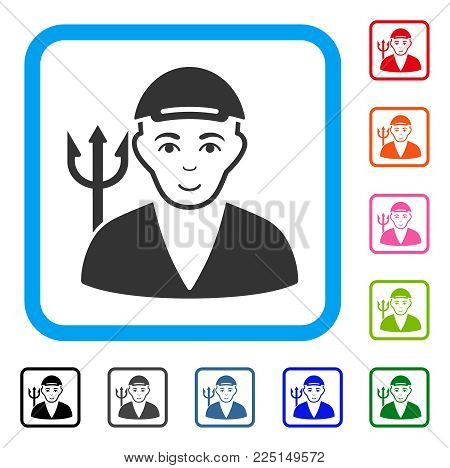 Happy Satan vector pictogram. Human face has positive feeling. Black, grey, green, blue, red, orange color versions of satan symbol inside a rounded frame. A dude with a cap.