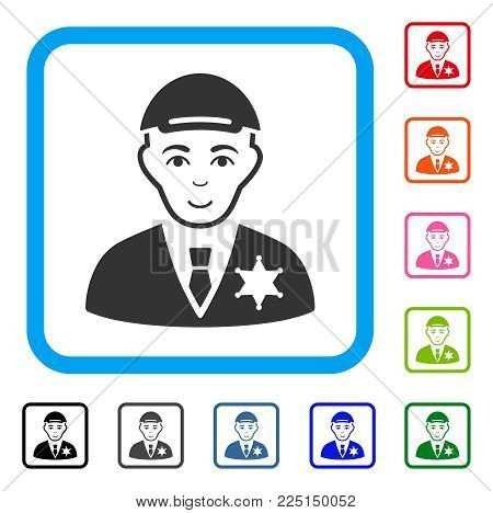 Smiling Police Sheriff vector pictograph. Human face has enjoy emotion. Black, grey, green, blue, red, orange color versions of police sheriff symbol inside a rounded rectangular frame.