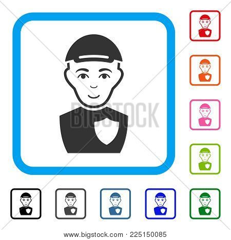 Joyful Sheriff vector icon. Human face has enjoy expression. Black, grey, green, blue, red, orange color additional versions of sheriff symbol inside a rounded rectangle. A man in a cap.