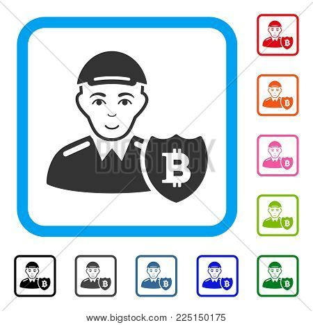 Joy Bitcoin Protector vector pictograph. Person face has glad sentiment. Black, gray, green, blue, red, pink color additional versions of bitcoin protector symbol in a rounded squared frame. poster