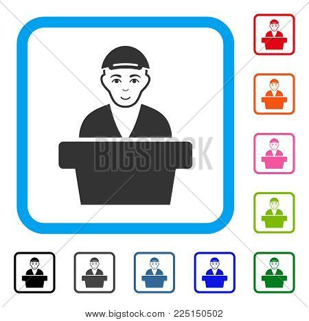 Enjoy Official Clerk vector icon. Person face has happiness emotion. Black, grey, green, blue, red, pink color variants of official clerk symbol inside a rounded squared frame. A guy with a cap.