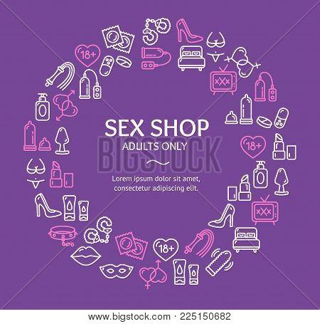 Sex Shop Round Design Template Line Icon Concept Include of Condom, Dildo, Vibrator, Video, Mask and Porno. Vector illustration
