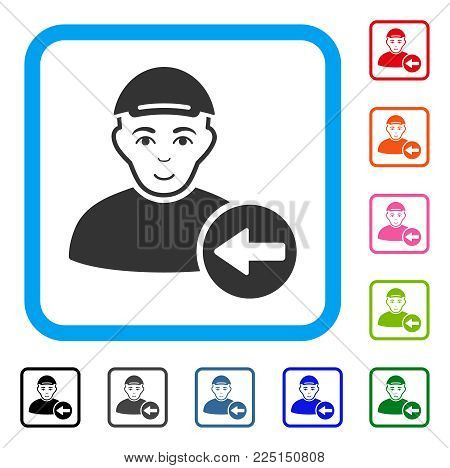 Joy Previous User vector pictogram. Human face has joy expression. Black, grey, green, blue, red, pink color versions of previous user symbol inside a rounded rectangular frame. A man in a cap.